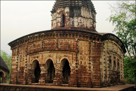 Temples at Bishnupur, West Bengal, India - West Bengal is famous for its terracotta temples and the balucheri sarees .